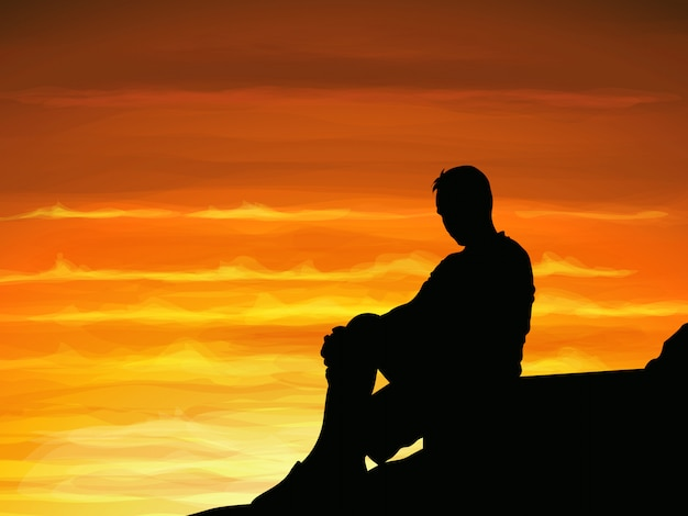 silhouette lonely man sitting