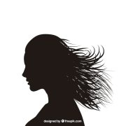silhouette of woman with waving