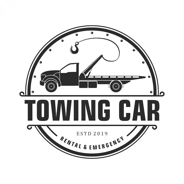 silhouette towing car logo