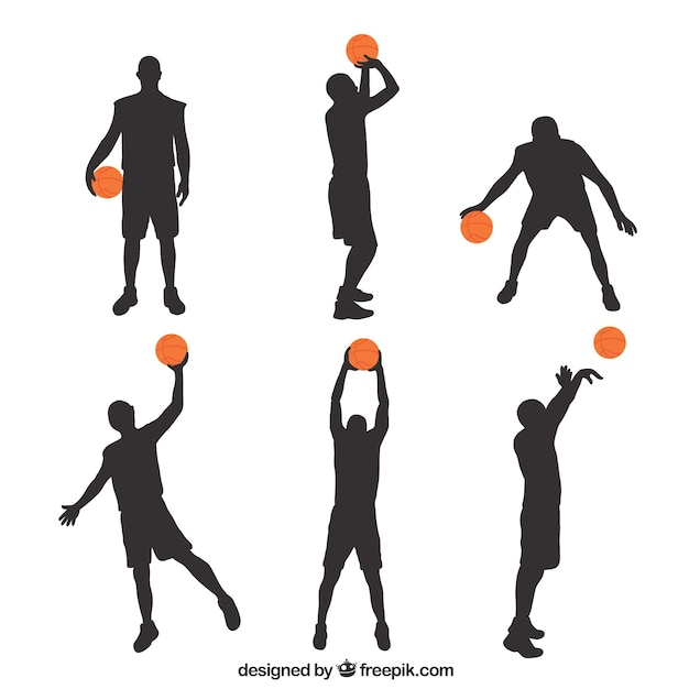 Silhouettes of basketball players with colored ball Vector