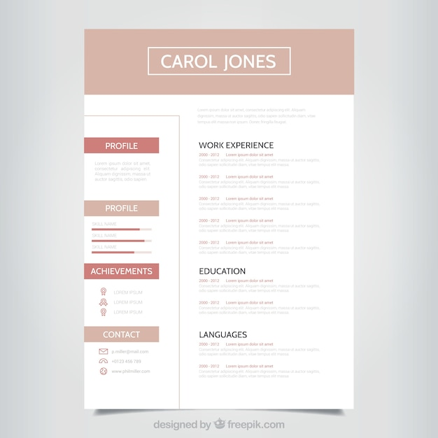 Simple Professional Resume Template Vector Free Download
