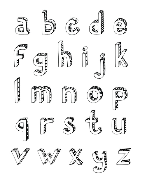 Sketch hand drawn 3d alphabet of small lower case letters