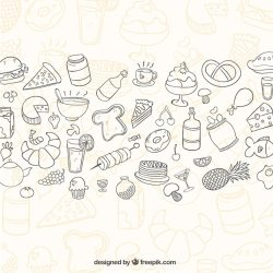 Free Vector Sketchy food background