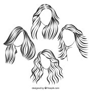 sketchy hairstyles vector free