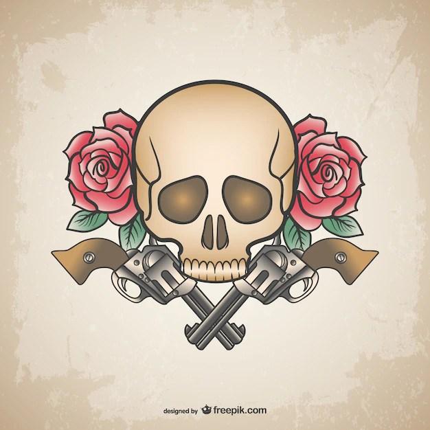 skull tattoo guns and