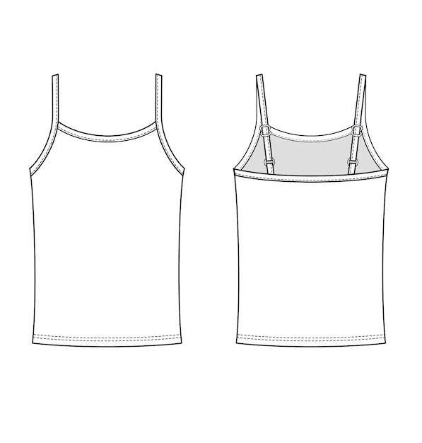 Sleeveless tank top fashion flat technical drawing