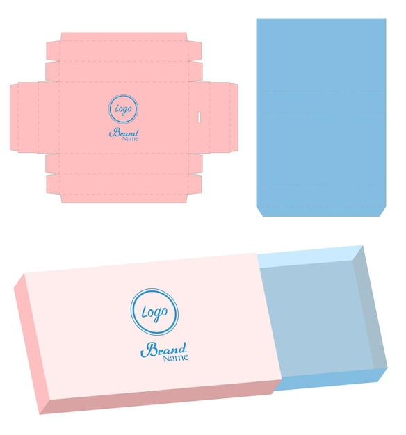Download Slide box die cut mock up template vector Vector | Premium ...