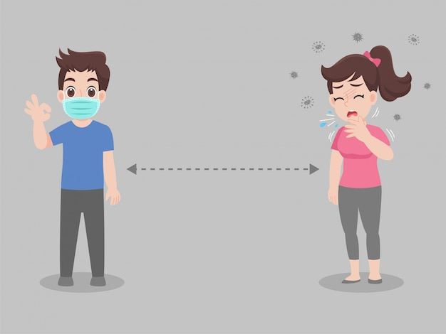Social distancing, people keeping distance for infection risk and disease Premium Vector