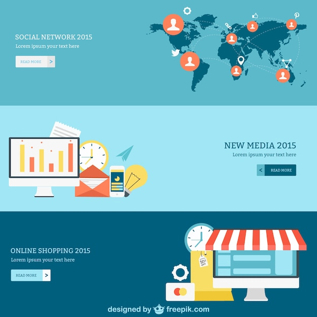Social network, media and online shopping banners Vector ...