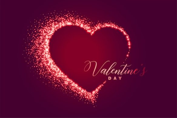 Sparkle heart happy valentines day background Free Vector