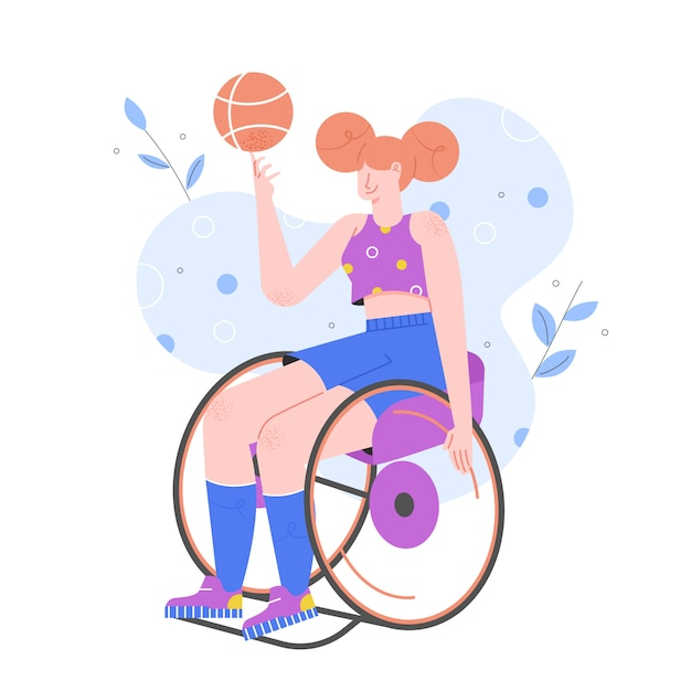Premium Vector | Sports activities for disabled persons. girl in a  wheelchair plays basketball. paralympics.