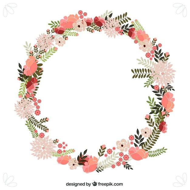 spring flowers wreath vector