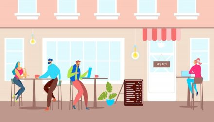 Premium Vector Street cafe exterior city architecture illustration people character outside cartoon restaurant outdoor tables for man