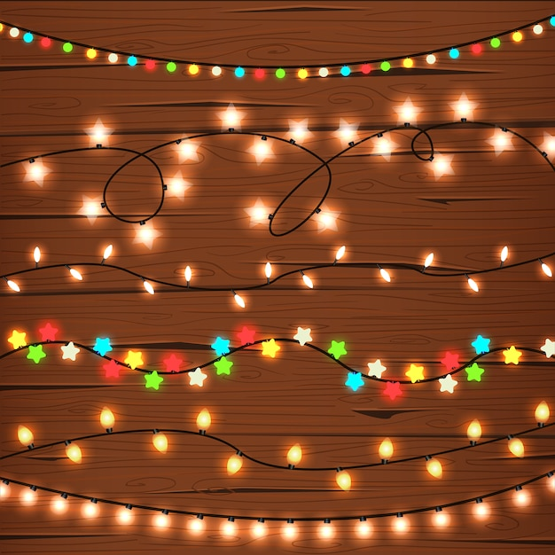 string lights on wooden