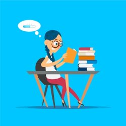 Premium Vector A student reads a mountain of books sitting at a desk cartoon illustration on blue background