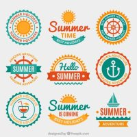 Summer badges in flat design Vector | Free Download