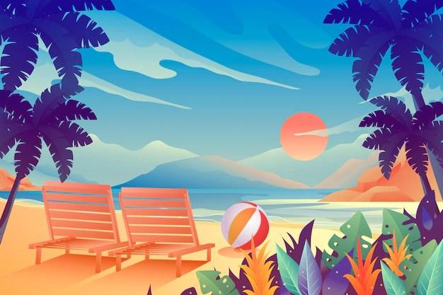 Free Vector Summer Landscape Background For Zoom