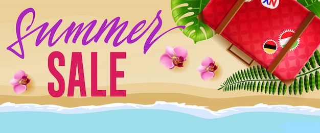 Summer sale seasonal banner with flowers, travel bag and beach ...