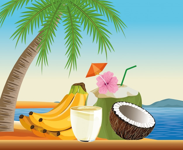 Free Vector Summer Vacations And Beach In Cartoon Style
