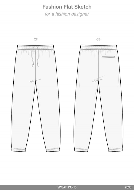 Sweat pants fashion flat technical drawing vector template