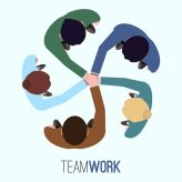 Teamwork background design Free Vector