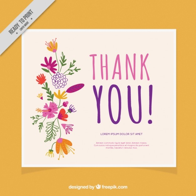 Thank You Card Decorated With Flowers Vector Free Download