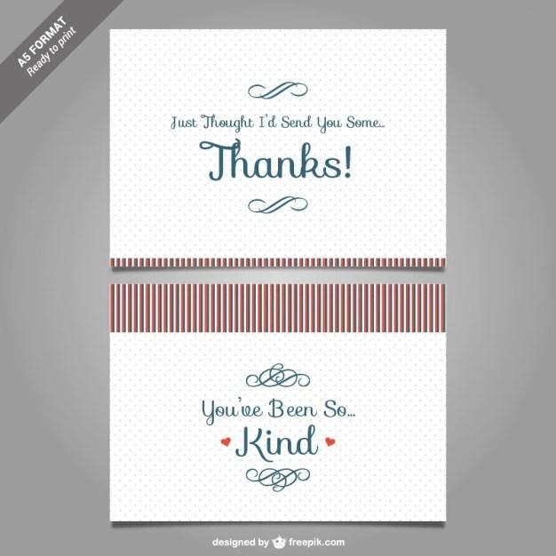 Free Vector Thank You Card Template Vector