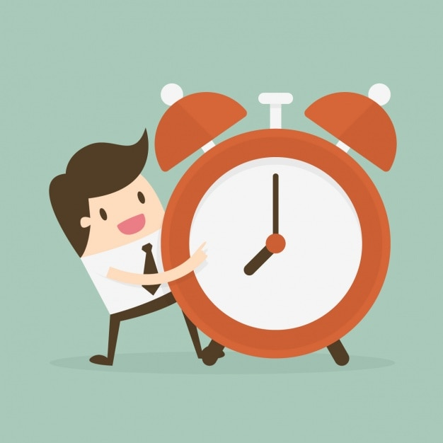 Time administration with employee with alarm clock Free Vector