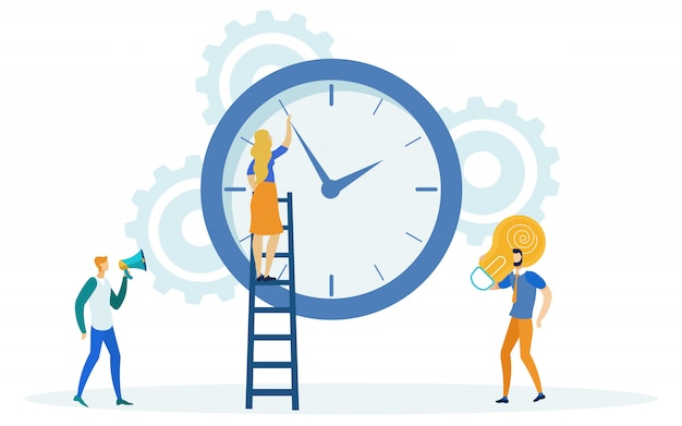 Time management, girl on ladder changing time. Premium Vector