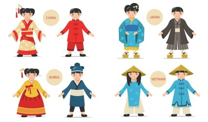Free Vector Traditional asian couples set cartoon chinese japanese korean vietnamese men and women wearing national costumes kimonos and hats