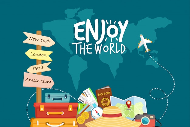 Premium Vector Travel By Airplane World Travel Planning Summer Vacations Tourism And Vacation Theme