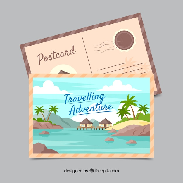 Free Vector Travel Postcard Template With Adventrure Style