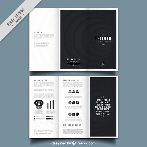 Trifold Brochure Design With Black Round Shapes Vector