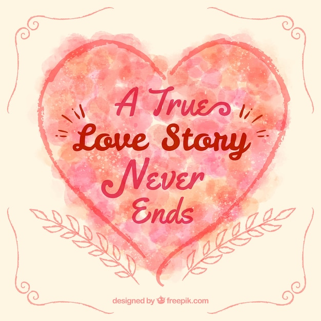 A True Love Story Never Ends Heart Free Vector