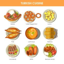 turkish food restaurant cuisine menu vector icons turkey traditional clipart kebab premium illustration pide template dishes meal meat gograph