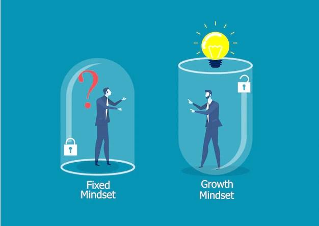 Dos hombres de negocios pensando diferente entre mentalidad fija vs concepto de éxito de mentalidad de crecimiento Vector Premium