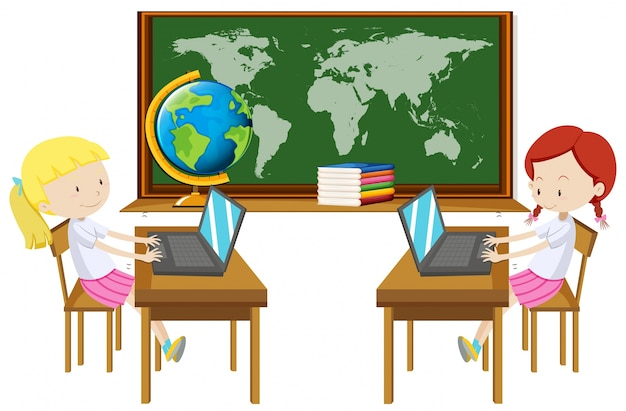 Two Girl Working On Computer In Classroom Vector
