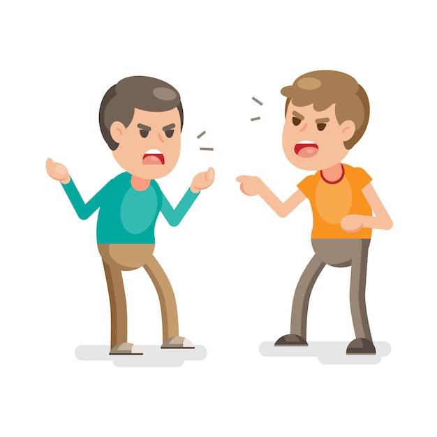 Premium Vector | Two young men fighting angry and shouting at each other