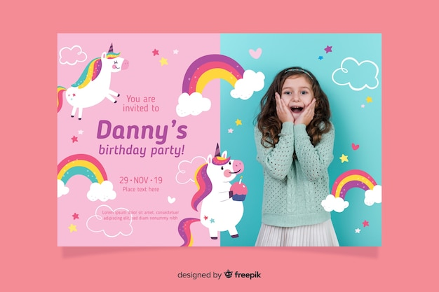 unicorn childrens birthday invitation