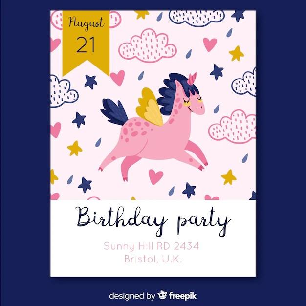 unicorn hand drawn birthday invitation