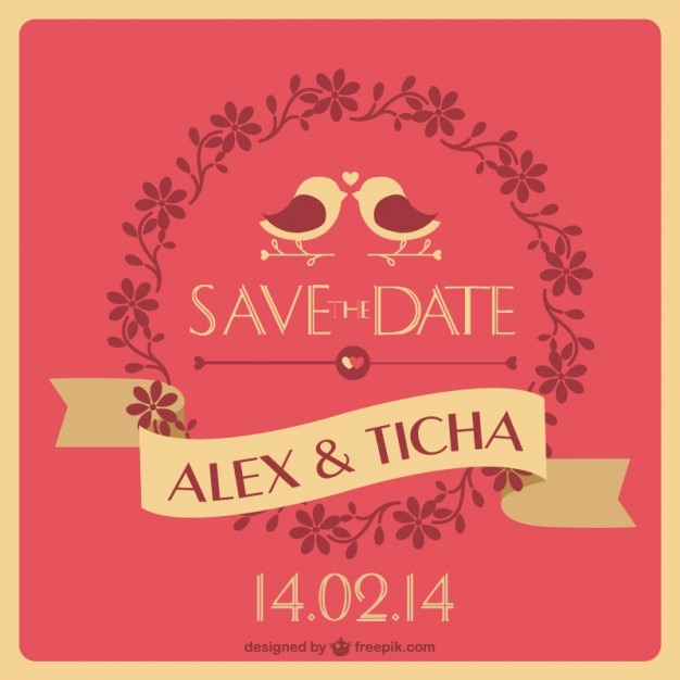 Unique Wedding Invitation Free Vector