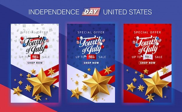 Usa independence day sale promotion advertising banner template.4th of july celebration poster template. Premium Vector