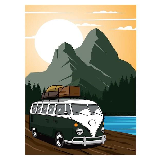 Premium Vector Vacation Van Traveling On Mountain
