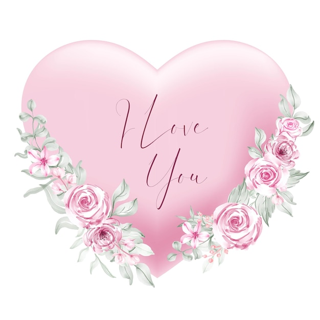Valentine pink heart shape i love you words with watercolor flower and leaves Free Vector