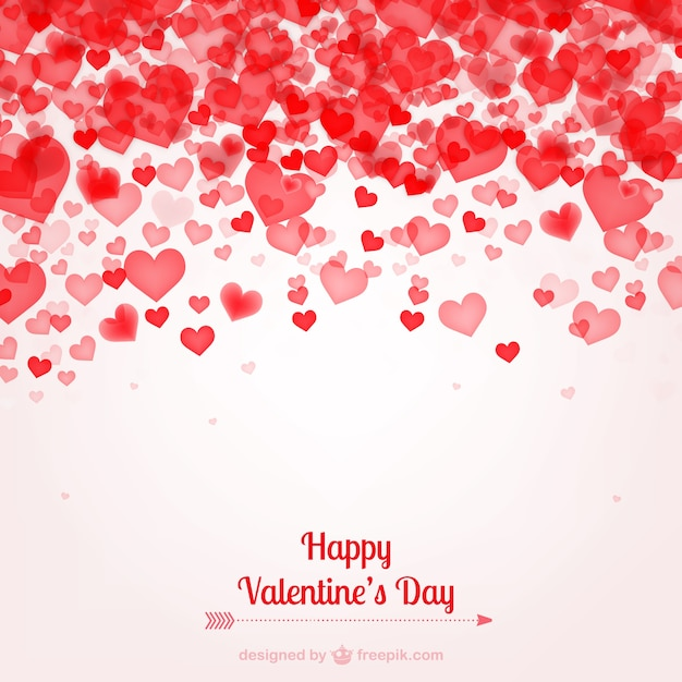 Valentines Card With Hearts Vector Free Download
