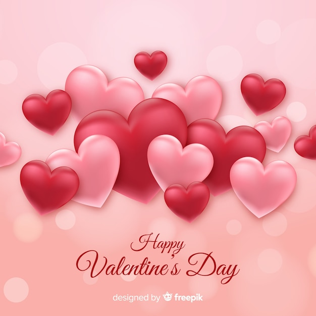 Pretty Pink & Red Hearts - Happy Valentine's Day Free Vector Graphic