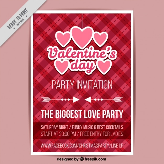 Valentines Day Poster With Hearts And Checkered