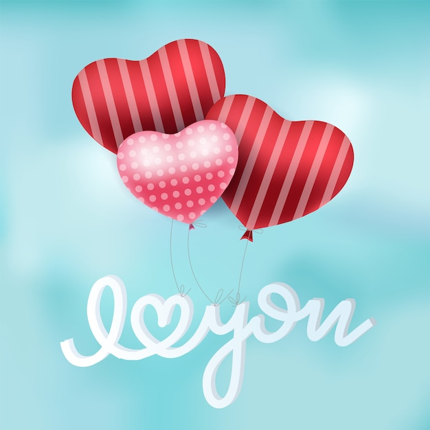 Download Valentines red heart balloons vector poster design with ...