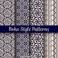 Variety of boho patterns with beautiful designs Vector ...