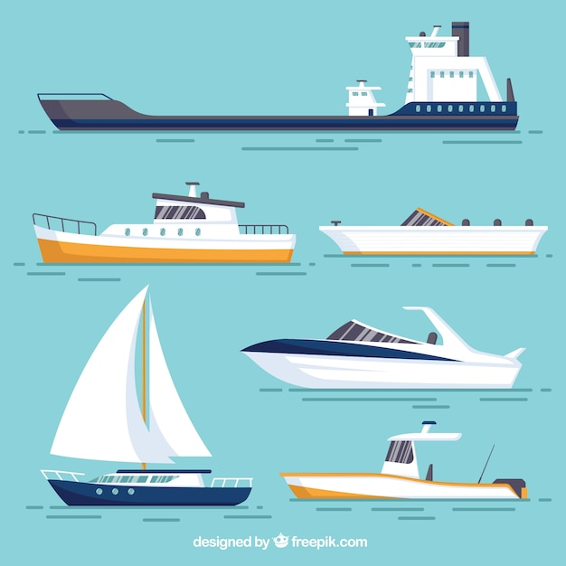 various boats with different